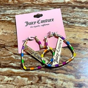 Juicy Couture Gold-Tone Rainbow Heart Earrings